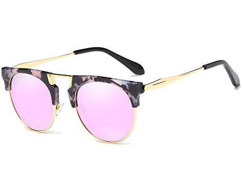 Joopin Semi Rimless Polarized Sunglasses Women Men Retro Brand Sun Glasses (Purple (No Case Included), as the pictures) -