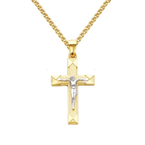 14k Two Tone Gold Jesus Cross Religious Pendant with 1.5mm Flat Open Wheat Chain Necklace - 20