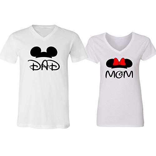 Disney Mickey Dad Minnie Mouse Mom Family Couple Design V-Neck Shirt for Men Women(White-White,Men-L/Women-L) ()