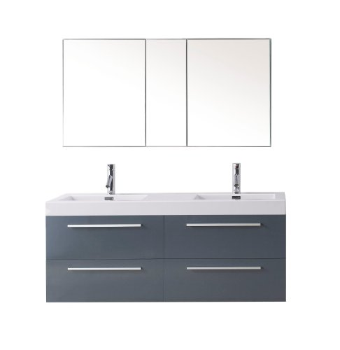 Virtu Usa Jd 50754 Gr Modern 54 Inch Double Sink Bathroom Vanity Set With Polished Chrome Faucet  Grey