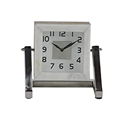 Deco 79 43556 Modern Wooden Table Clock with Metal Support, 4 W x 8 H, Black, White, Silver