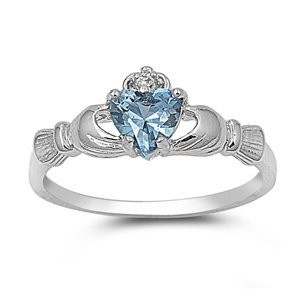 9MM Sterling Silver Simulated Blue Simulated AQUAMARINE ROYAL HEART Claddagh Ring 4-10