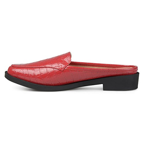 Square Womens Sole Toe Comfort Brinley Red Patent Croc Jem Slide Co Faux Mules Pattern X54fw