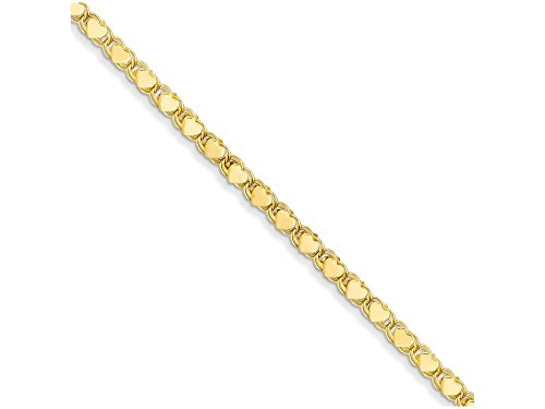 10 Inch 14k Yellow Gold Polished Double-sided Heart Anklet by Finejewelers