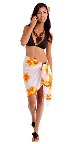 1 World Sarongs Womens Hibiscus Half/Mini Cover-Up Sarong in Yellow/White