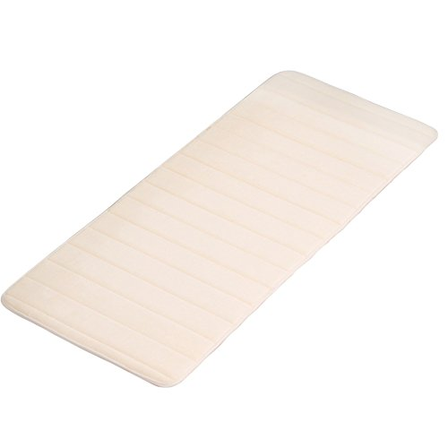 FAVOLOOK Non-slip Memory Foam Bath Rug, Soft Absorbent Natural Runner Washable Carpet Shower (Size:W 19.6
