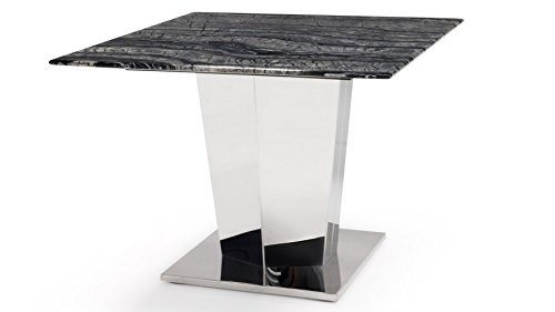 Cheap Zuri Furniture Black and White Marble Brushed Stainless Steel Sirah End Table