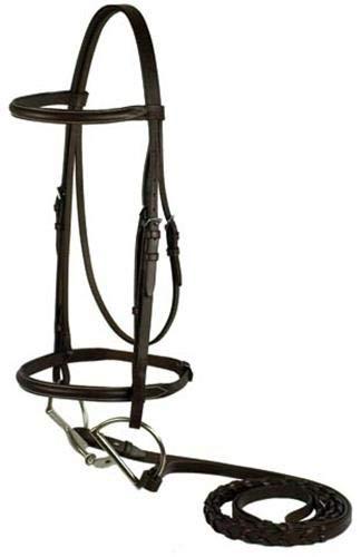 - GATSBY LEATHER COMPANY 282510 Plain Snaffle Bridle Havanna Brown, Horse