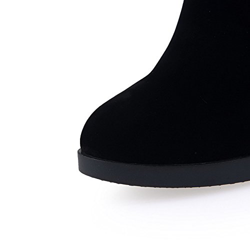 Allhqfashion Women's High Heels Round Closed Toe Frosted Mid-Calf Boots Black eSLxAtFFWa