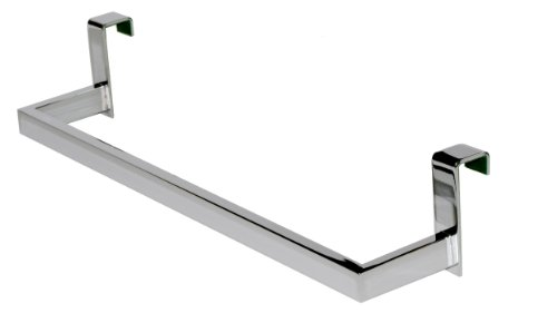 Over the Cabinet Towel Bar 14-1/2-inch, Brass Polished Chrome, Over the Door Towel Bar Holder-rectangular Lines, Made in Spain (Euroepan Brand) by Hispania bath