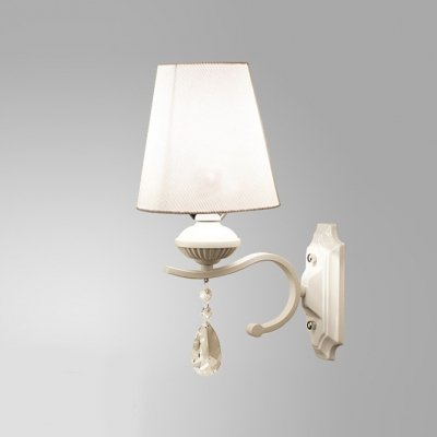 hua Elegant Shimmery Crystal Droplets and White Finish Add Charm to Stunning Single Light Wall Sconce