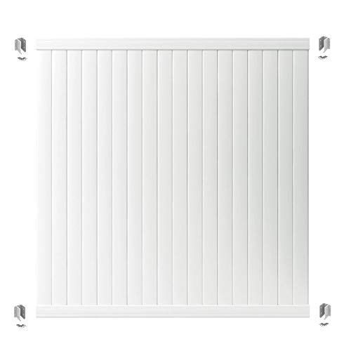 Outdoor Essentials PicketLock Olympia White Vinyl Privacy Fence Panel Plus Brackets, 6 ft. x 6 ft.