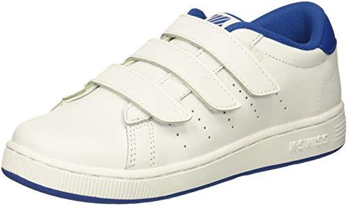 Kids Children White Shoe K-swiss - K-Swiss Unisex Clean Court 3-Strap Sneaker, White/Classic Blue, 12 M US Little Kid