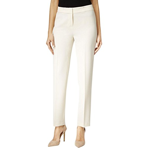 Kasper Womens Plus Straight Leg Crepe Casual Pants Ivory (Crepe Straight Leg Pants)