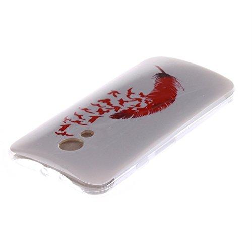 Funda Silicona Moto G2, KATUMO® Carcasa Dura Transparente Gel para Motorola Moto G (2ª Generación) Funda Goma Caja Cubierta Clear Cover-Diente de León Blanco Pluma Roja