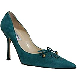 JIMMY CHOO Emerald Green Suede Pointed Court Shoe with Lace Detail
