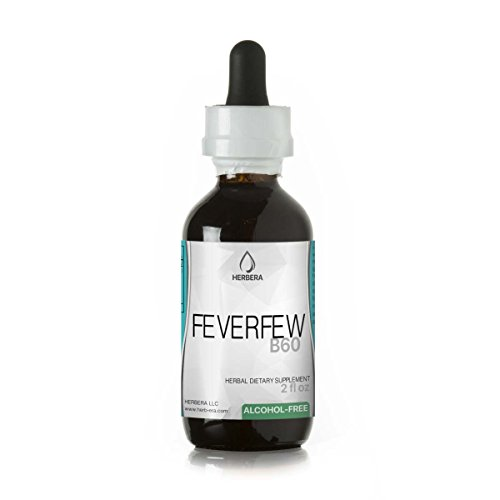 Feverfew Alcohol (Feverfew B60 Alcohol-FREE Herbal Extract Tincture, Organic Feverfew (Tanacetum parthenium) Dried Herb (2 fl oz))