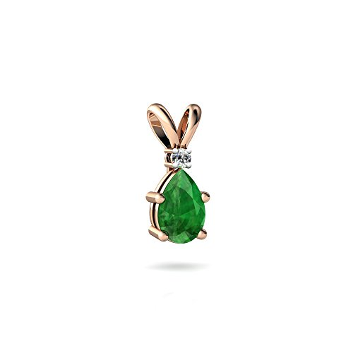 14kt Rose Gold Emerald and Diamond 6x4mm Pear Solitaire Pendant