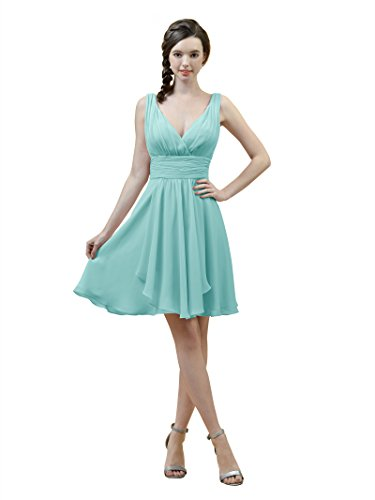 Alicepub V-neck A-Line Bridesmaid Dress Short Chiffon Cocktail Evening Party Dress, Aqua Blue, US2