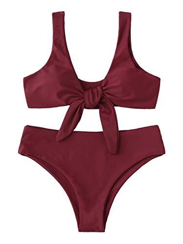 Knot Womens (SweatyRocks Women's Bikini Tie Knot Front Detachable Swimsuit Soild Color High Waist Swimwear Set)