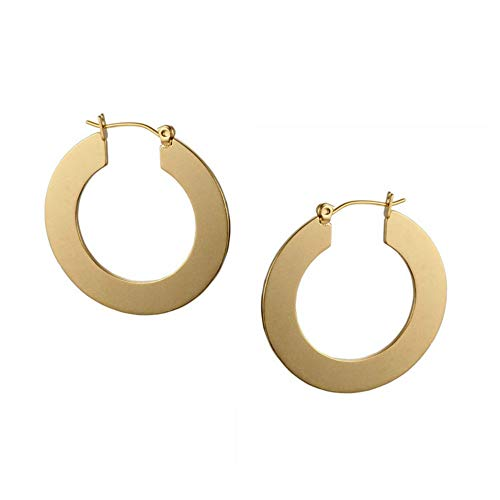 Earrings 14k Gold C-hoop (Minimal Bohemian 18K Gold Plated Large Round Hoop Earrings for Women (Small Size))