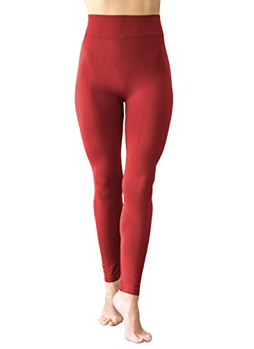 BELIZA Aurora Red Fleece Leggings with 3 Inch High Waist Band (Aurora Fleece)