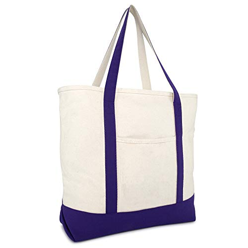 """DALIX 22"""" Extra Large Cotton Canvas Zippered Shopping Tote Bag in Purple"""