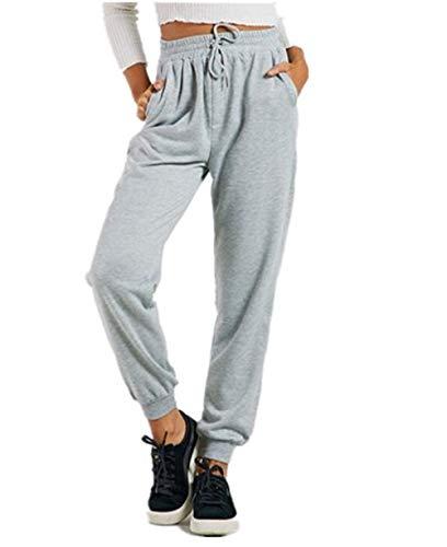Dimensione L FuweiEncore Eleganti Grigio Colore Lunghi Sportivi Casual Donna Giallo Pantaloni 8wzx4q8r1