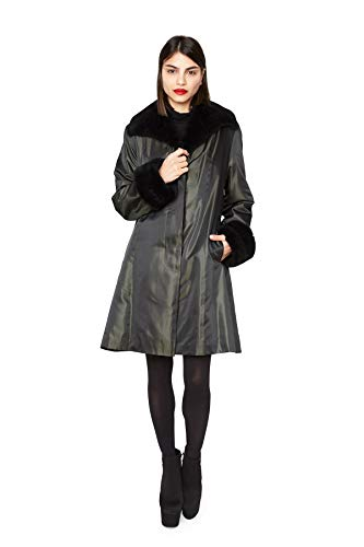 "517 Green Taffeta Black Sheared Nutria Lined 36"" Swing Raincoat - Coat Fur Nutria"