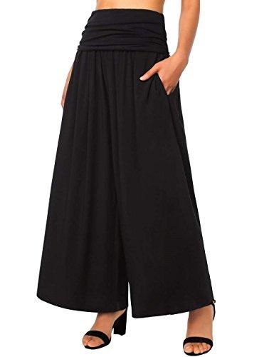 Fashion Basique Noir Vêtements Palazzo Confortable Pants Wide Imprimé Loisirs Élégant Haute Femme Taille Hx Été De Aéré dqTawSdx