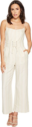 ASTR the label Women's Juno Wide Leg Corset Striped Cropped Casual Jumpsuit, Natural Stripe, M