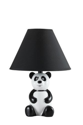 14'' White and Black Novelty Panda Table/ Desk Lamp with Black Shade - 628BK by SH Lighting