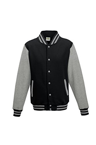 Awdis Unisex Varsity Jacket (L) (Jet Black/Heather Gray) -