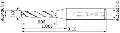1.2 mm Point Length 21 mm Hole Depth Mitsubishi Materials MHS0630L150B MHS Series Solid Carbide Drill 6.3 mm Cutting Dia Internal Coolant 8 mm Shank Dia.