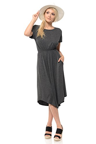 iconic luxe Women's Solid Short Sleeve Flare Midi Dress with Pockets Medium Charcoal ()