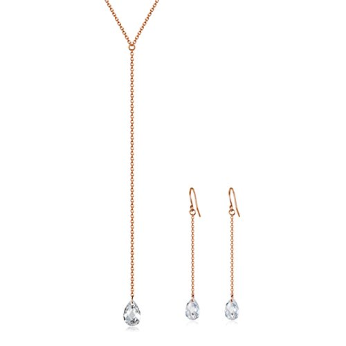 Lariat Y Necklace with CZ | Dangle Earrings | Rose Gold over 925 Sterling Silver (Lariat Set Earrings)