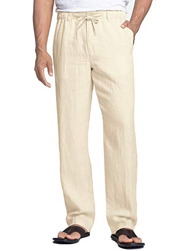 COOFANDY Men's Linen Pants Casual Elastic Waist Drawstring Beach Trousers