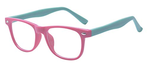Outray Kids Computer Blue Light Blocking Glasses for Boys and Gilrs Anti Eyestrain (Pink&Blue, ()