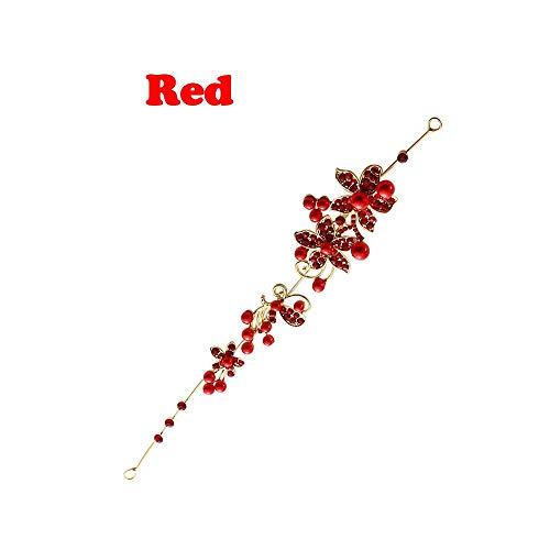 - Joyhul Nice Fashion Wedding Hair Accessories Clips Romantic Crystal Pearl Flower Hairpin Tiara Bridal Crown Hair Pins Bride Hair Jewelry Red,Red