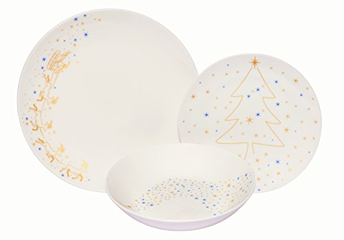 Melange Coupe 18-Piece Porcelain Dinnerware Set (Golden Angels) | Service for 6 | Microwave, Dishwasher & Oven Safe | Dinner Plate, Salad Plate & Soup Bowl (6 Each)