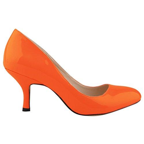 punta Heel col Scarpe Shoes Donna Tacco Scarpe Scarpe Classiche Tacco Arancia col a WanYang Kitten Hvx7w