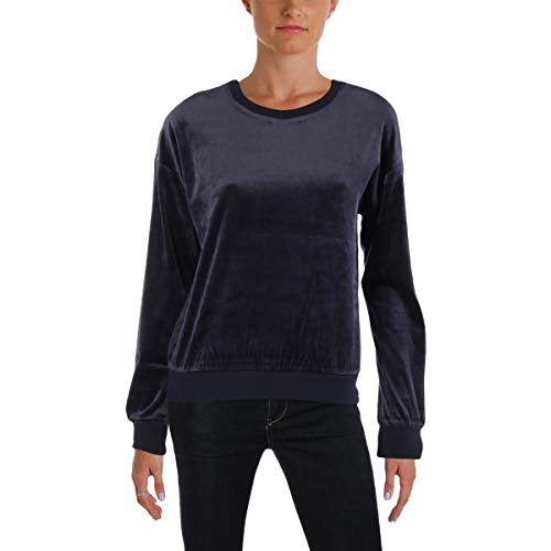 (Juicy Couture Women's Track Lightweight Velour Paradise Cove Pullover Regal Small)