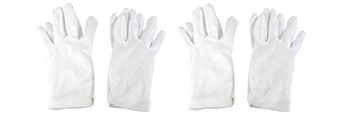 Girls Tea Party Stretch Polyester Dress Short Gloves Set of 4 White (Glitz And Glamour Party Costumes)