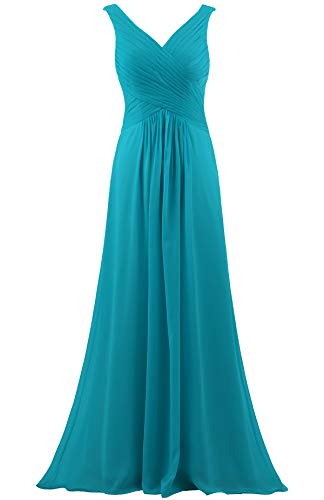 - ANTS Women's V Neck Sleeveless Long Bridesmaid Dresses Chiffon Gowns Size 12 US Jade
