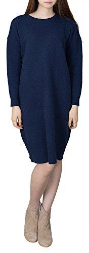 Angora Knit Dress - Womens Crewneck Angora Wool Knit Dress Long Sweater ,Navy