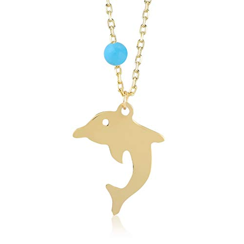 (Gelin 14k Yellow Gold Jumping Dolphin Pendant Chain Necklace with a small Turquoise stone, 18 inch)