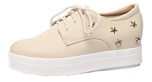 Shoes up Solid Round Heels Women's Beige Closed AalarDom Lace Toe Kitten Pu Court 4BOnxqqgUP