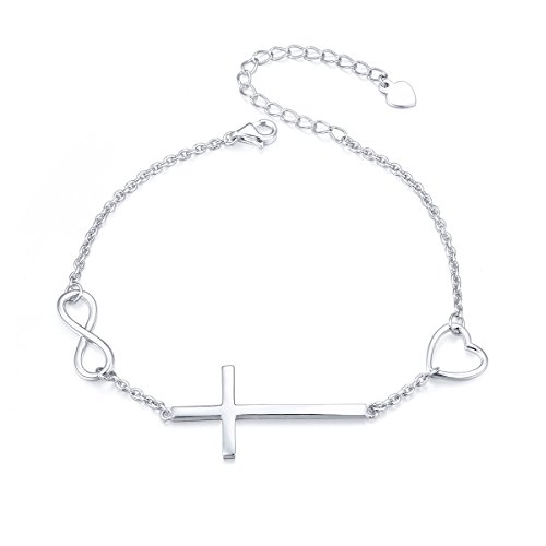 925 Sterling Silver Religious Cross Bracelet In Faith Hope Love Bracelet Christian Infinity Love Classic Jewelry 7 inches to 9 inches
