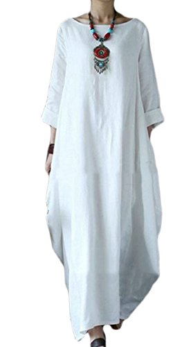 Color Loose White Dress Long Solid Long 1 Neck Sleeve Coolred Round 2 Women wXEWpqqH