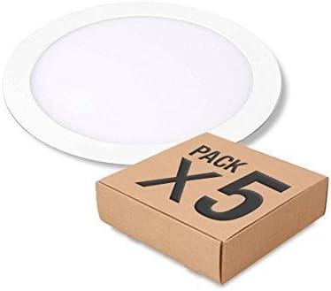 Pack 5 Downlight LED redondo plano, aluminio, color blanco, 20W ...